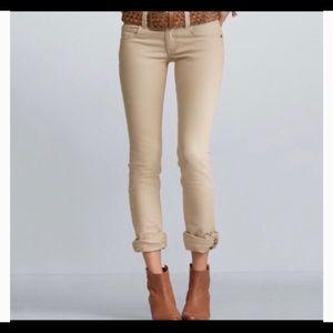 CAbi jeans #406 Lou Lou straight leg tan sz 14